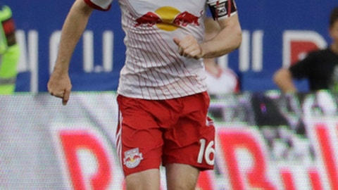 New York Red Bulls midfielder Sacha Kljestan (16) runs with the ball against the Toronto FC during the first half of an MLS soccer match, Friday, May 19, 2017, in Harrison, N.J. (AP Photo/Julio Cortez)