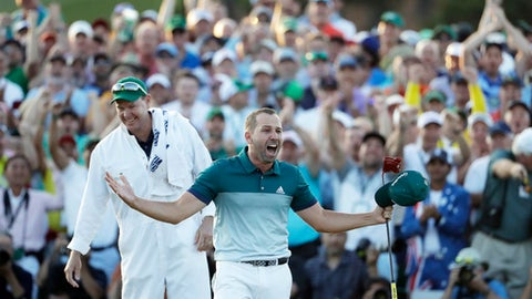 FILE - In this April 9, 2017, file photo, Sergio Garcia, of Spain, reacts after making his birdie putt on the 18th green to win the Masters golf tournament in a playoff in Augusta, Ga. (AP Photo/David Goldman, File)