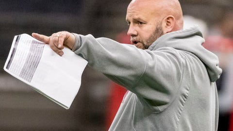 Alabama offensive coordinator Brian Daboll signals to his quarterbacks at NCAA college football practice for the Sugar Bowl against Clemson, Thursday, Dec. 28, 2017, in New Orleans, La. (Vasha Hunt/AL.com via AP)