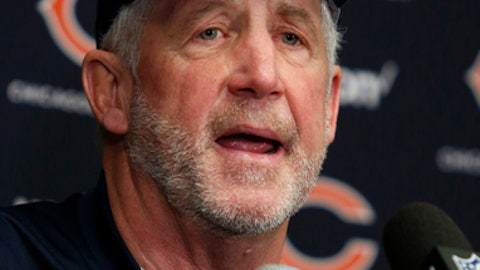 Chicago Bears head coach John Fox speaks during a news conference after an NFL football game against the Minnesota Vikings, Sunday, Dec. 31, 2017, in Minneapolis. (AP Photo/Bruce Kluckhohn)