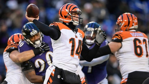 Cincinnati Bengals quarterback Andy Dalton (14) passes the ball during the first half of an NFL football game against the Baltimore Ravens in Baltimore, Sunday, Dec 31, 2017. (AP Photo/Nick Wass)