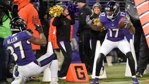 Baltimore Ravens wide receiver Mike Wallace (17) celebrates his touchdown with teammate running back Javorius Allen (37) during the second half of an NFL football game against the Cincinnati Bengals in Baltimore, Sunday, Dec 31, 2017. (AP Photo/Nick Wass)