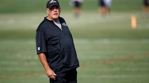 Baltimore Ravens defensive coordinator Dean Pees stands on the field during an NFL football training camp practice in Owings Mills, Md., Wednesday, Aug. 2, 2017. (AP Photo/Patrick Semansky)