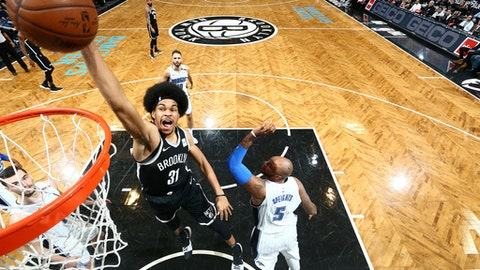 BROOKLYN, NY - JANUARY 1, 2018: Jarrett Allen #31 of the Brooklyn Nets shoots the ball against the Orlando Magic on January 1, 2018 at Barclays Center in Brooklyn, New York. NOTE TO USER: User expressly acknowledges and agrees that, by downloading and or using this Photograph, user is consenting to the terms and conditions of the Getty Images License Agreement. Mandatory Copyright Notice: Copyright 2018 NBAE (Photo by Nathaniel S. Butler/NBAE via Getty Images)
