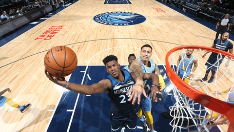MINNEAPOLIS, MN -  JANUARY 1: Jimmy Butler #23 of the Minnesota Timberwolves goes to the basket against the Los Angeles Lakers on January 1, 2018 at Target Center in Minneapolis, Minnesota. NOTE TO USER: User expressly acknowledges and agrees that, by downloading and or using this Photograph, user is consenting to the terms and conditions of the Getty Images License Agreement. Mandatory Copyright Notice: Copyright 2018 NBAE (Photo by David Sherman/NBAE via Getty Images)