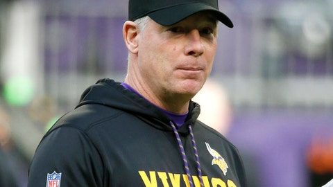 FILE - In this Dec. 31, 2017, file photo, Minnesota Vikings offensive coordinator Pat Shurmur stands on the field before an NFL football game against the Chicago Bears, in Minneapolis. One of the reasons the Vikings have blossomed into a Super Bowl contender this season is the influence of offensive coordinator Pat Shurmur, who has become a hot candidate for several open head coach vacancies around the league. (AP Photo/Bruce Kluckhohn, File)