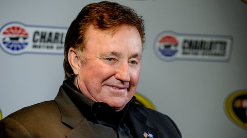 FILE - In this Jan. 21, 2016, file photo, team owner Richard Childress talks to members to the press during the NASCAR Charlotte Motor Speedway Media Tour in Charlotte, N.C. Authorities say three men have been arrested for breaking into the home of NASCAR team owner Richard Childress. The Davidson County Sheriff's Office said it learned from police in Winston-Salem that the guns used at the Childress home matched firearms that were reported stolen during a break-in on Dec. 15. The three men arrested for the break-in at the Childress home matched the description of the suspects in the gun theft. (AP Photo/Mike McCarn, File)