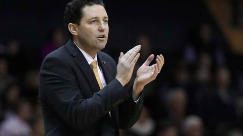 Vanderbilt head coach Bryce Drew cheers his players on in the second half of an NCAA college basketball game against Alabama Tuesday, Jan. 2, 2018, in Nashville, Tenn. Vanderbilt won 76-75. (AP Photo/Mark Humphrey)