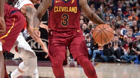 CLEVELAND, OH - JANUARY 2:  Isaiah Thomas #3 of the Cleveland Cavaliers handles the ball against the Portland Trail Blazers on January 2, 2018 at Quicken Loans Arena in Cleveland, Ohio. NOTE TO USER: User expressly acknowledges and agrees that, by downloading and/or using this Photograph, user is consenting to the terms and conditions of the Getty Images License Agreement. Mandatory Copyright Notice: Copyright 2018 NBAE  (Photo by David Liam Kyle/NBAE via Getty Images)