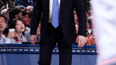 NEW YORK, NY - JANUARY 2: Head Coach Gregg Popovich of the San Antonio Spurs looks on during the game against the New York Knicks on January 2, 2018 at Madison Square Garden in New York, New York. NOTE TO USER: User expressly acknowledges and agrees that, by downloading and or using this Photograph, user is consenting to the terms and conditions of the Getty Images License Agreement. Mandatory Copyright Notice: Copyright 2018 NBAE (Photo by Nathaniel S. Butler/NBAE via Getty Images)