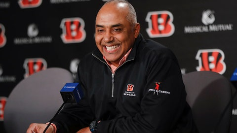 Cincinnati Bengals NFL football head coach Marvin Lewis smiles as he speaks during a news conference following an announcement that he will remain in his position for an additional two seasons, Wednesday, Jan. 3, 2018, in Cincinnati. (AP Photo/John Minchillo)