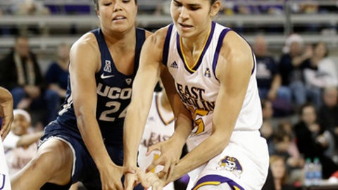 Connecticut's Napheesa Collier (24) and East Carolina's Thais Oliveira reach for the ball during the first half of an NCAA college basketball game in Greenville, N.C., Wednesday, Jan. 3, 2018. (AP Photo/Gerry Broome)
