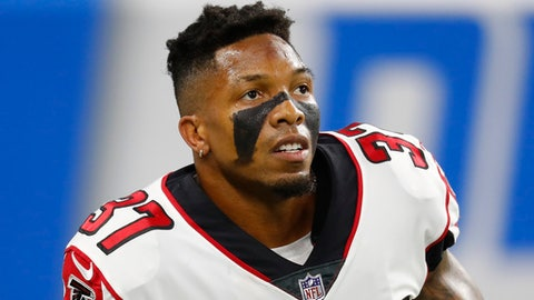 FILE - In this Sept. 24, 2017, file photo, Atlanta Falcons free safety Ricardo Allen warms up before an NFL football game in Detroit.  Atlanta ranks in the top 10 in both total defense and scoring defense and that's a claim the Falcons, who play the Rams in the wild-card game on Saturday, Jan. 6, 2018, haven't been able to make since 1998. (AP Photo/Paul Sancya, File)