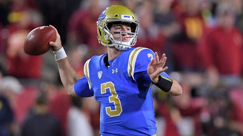 FILE - In this Saturday, Nov. 18, 2017 file photo, UCLA quarterback Josh Rosen passes during the first half of an NCAA college football game against Southern California in Los Angeles. UCLA quarterback Josh Rosen is skipping his senior season to enter the NFL draft.  Rosen made the expected announcement Wednesday, Jan. 3, 2018 with a post on Twitter. He is expected to be a high first-round pick in April. (AP Photo/Mark J. Terrill, File)