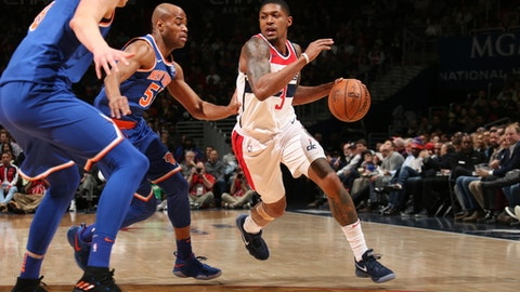 WASHINGTON, DC - JANUARY 3:   Bradley Beal #3 of the Washington Wizards handles the ball against the New York Knicks on January 3, 2018 at Capital One Arena in Washington, DC. NOTE TO USER: User expressly acknowledges and agrees that, by downloading and or using this Photograph, user is consenting to the terms and conditions of the Getty Images License Agreement. Mandatory Copyright Notice: Copyright 2018 NBAE (Photo by Ned Dishman/NBAE via Getty Images)