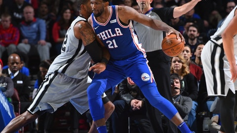 PHILADELPHIA,PA -  JANUARY 3 : Joel Embiid #21 of the Philadelphia 76ers backs up to the basket against the San Antonio Spurs at Wells Fargo Center on January 3, 2018 in Philadelphia, Pennsylvania NOTE TO USER: User expressly acknowledges and agrees that, by downloading and/or using this Photograph, user is consenting to the terms and conditions of the Getty Images License Agreement. Mandatory Copyright Notice: Copyright 2018 NBAE (Photo by Jesse D. Garrabrant/NBAE via Getty Images)