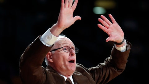 Miami head coach Jim Larranaga yells to his players in the second half of an NCAA college basketball game against the Georgia Tech Wednesday, Jan. 3, 2018, in Atlanta. Georgia Tech won 64-54. (AP Photo/John Bazemore)