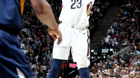 SALT LAKE CITY, UT - JANUARY 3: Anthony Davis #23 of the New Orleans Pelicans shoots the ball against the Utah Jazz on January 3, 2018 at vivint.SmartHome Arena in Salt Lake City, Utah. NOTE TO USER: User expressly acknowledges and agrees that, by downloading and or using this Photograph, User is consenting to the terms and conditions of the Getty Images License Agreement. Mandatory Copyright Notice: Copyright 2018 NBAE (Photo by Melissa Majchrzak/NBAE via Getty Images)