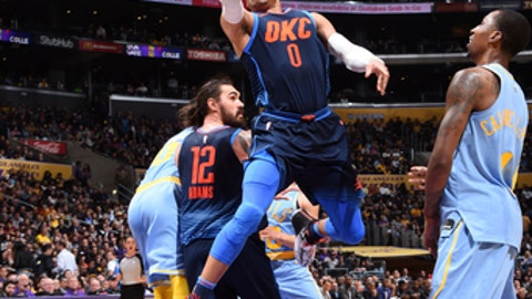 LOS ANGELES, CA - JANUARY 3:  Russell Westbrook #0 of the Oklahoma City Thunder goes to the basket against the Los Angeles Lakers on January 3, 2018 at STAPLES Center in Los Angeles, California. NOTE TO USER: User expressly acknowledges and agrees that, by downloading and/or using this Photograph, user is consenting to the terms and conditions of the Getty Images License Agreement. Mandatory Copyright Notice: Copyright 2018 NBAE (Photo by Andrew D. Bernstein/NBAE via Getty Images)