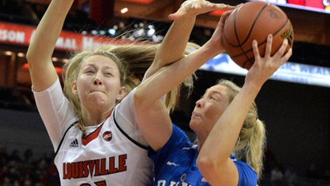 Louisville forward Kylee Shook (21) attempts to block the shot of Duke forward Erin Mathias (35) during the first half of an NCAA college basketball game, Thursday, Jan. 4, 2018, in Louisville, Ky. (AP Photo/Timothy D. Easley)