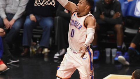 LOS ANGELES, CA - JANUARY 04: Oklahoma City Thunder Guard Russell Westbrook (0) shoots a layup during an NBA game between the Oklahoma City Thunder and the Los Angeles Clippers on January 04, 2018 at STAPLES Center in Los Angeles, CA. (Photo by Chris Williams/Icon Sportswire via Getty Images)