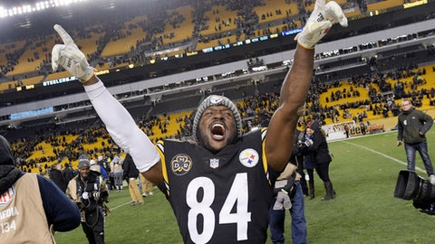 FILE - In this Dec. 11, 2017, file photo, Pittsburgh Steelers wide receiver Antonio Brown (84) celebrates a 39-38 win over the Baltimore Ravens in an NFL football game in Pittsburgh. In voting announced Friday, Jan. 5, 2018, Antonio Brown is one of four repeaters from last season on The Associated Press 2017 NFL All-Pro Team, and the only unanimous choice. (AP Photo/Don Wright)