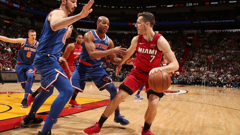 MIAMI, FL - JANUARY 5: Goran Dragic #7 of the Miami Heat jocks for a position against the New York Knicks on January 5, 2018 at American Airlines Arena in Miami, Florida. NOTE TO USER: User expressly acknowledges and agrees that, by downloading and or using this photograph, user is consenting to the terms and conditions of the Getty Images License Agreement. Mandatory Copyright Notice: Copyright 2018 NBAE (Photo by Issac Baldizon/NBAE via Getty Images)