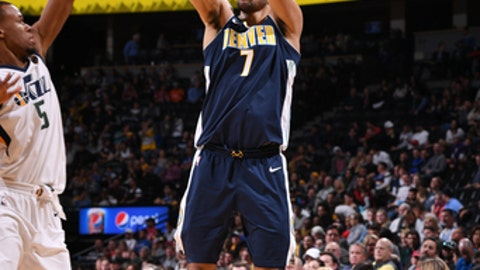 DENVER, CO - JANUARY 5: Trey Lyles #7 of the Denver Nuggets shoots the ball during the game against the Utah Jazz on January 5, 2018 at the Pepsi Center in Denver, Colorado. NOTE TO USER: User expressly acknowledges and agrees that, by downloading and/or using this Photograph, user is consenting to the terms and conditions of the Getty Images License Agreement. Mandatory Copyright Notice: Copyright 2018 NBAE (Photo by Garrett Ellwood/NBAE via Getty Images)