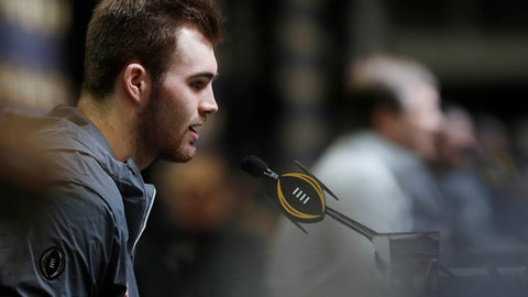 Georgia quarterback Jake Fromm speaks during media day, Saturday, Jan. 6, 2018, in Atlanta. Georgia and Alabama will be playing for the NCAA football national championship on Monday, Jan. 8. (AP Photo/John Bazemore)