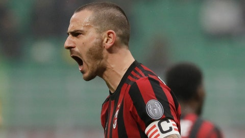 AC Milan's Leonardo Bonucci shouts to the linesman during a Serie A soccer match between AC Milan and Crotone, at the San Siro stadium in Milan, Italy, Saturday, Jan. 6, 2018. (AP Photo/Luca Bruno)