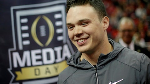 Georgia punter Cameron Nizialek speaks to reporters during media day, Saturday, Jan. 6, 2018, in Atlanta. Georgia and Alabama will be playing for the NCAA football national championship on Monday, Jan. 8. (AP Photo/David Goldman)