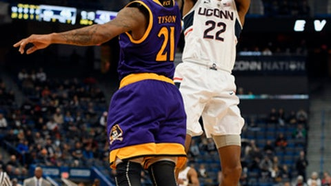 Connecticut's Terry Larrier shoots over East Carolina's B.J.Tyson during the second half of an NCAA college basketball game, Saturday, Jan. 6, 2018, in Hartford, Conn. (AP Photo/Jessica Hill)