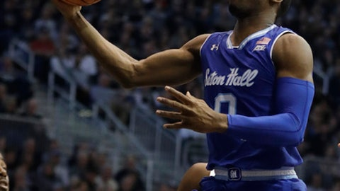 Seton Hall's Khadeen Carrington (0) puts up a shot during the second half of an NCAA college basketball game against the Butler, Saturday, Jan. 6, 2018, in Indianapolis. Seton Hall won 90-87. (AP Photo/Darron Cummings)