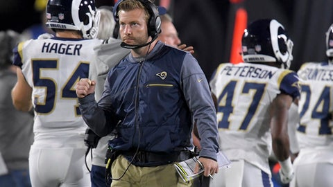 Los Angeles Rams head coach Sean McVay celebrates after a play against the Atlanta Falcons during the first half of an NFL football wild-card playoff game Saturday, Jan. 6, 2018, in Los Angeles. (AP Photo/Mark J. Terrill)