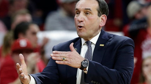 Duke coach Mike Krzyzewski reacts during the second half of the team's NCAA college basketball game against North Carolina State in Raleigh, N.C., Saturday, Jan. 6, 2018. North Carolina State won 96-85. (AP Photo/Gerry Broome)