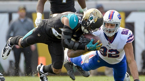 Jacksonville Jaguars cornerback Aaron Colvin, left, intercepts a pass in front of Buffalo Bills tight end Logan Thomas (82) in the first half of an NFL wild-card playoff football game, Sunday, Jan. 7, 2018, in Jacksonville, Fla. (AP Photo/Phelan M. Ebenhack)
