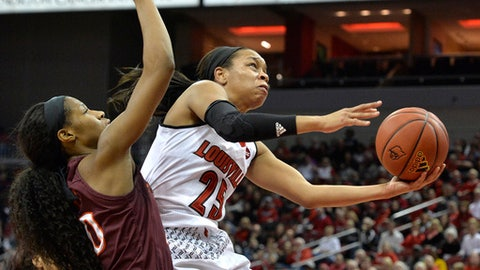 Louisville guard Asia Durr goes in for a layup past the defense of Virginia Tech forward Michelle Berry during the second half of an NCAA college basketball game Sunday Jan. 7 2018 in Louisville Ky