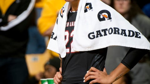 South Carolina's A'ja Wilson watches from in front of her bench after she fouled out during the second half of an NCAA college basketball game against Missouri, Sunday, Jan. 7, 2018, in Columbia, Mo. (AP Photo/L.G. Patterson)