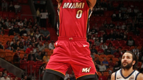MIAMI, FL - JANUARY 7: Josh Richardson #0 of the Miami Heat drives to the basket against the Miami Heat on January 7, 2017 at American Airlines Arena in Miami, Florida. NOTE TO USER: User expressly acknowledges and agrees that, by downloading and or using this photograph, user is consenting to the terms and conditions of the Getty Images License Agreement. Mandatory Copyright Notice: Copyright 2018 NBAE (Photo by Oscar Baldizon/NBAE via Getty Images)