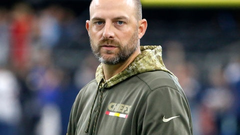 FILE - In this Nov. 5, 2017, file photo, Kansas City Chiefs offensive coordinator Matt Nagy stands on the field during warm ups before an NFL football game against the Dallas Cowboys, in Arlington, Texas. Chicago Bears general manager Ryan Pace announced the hiring of Matt Nagy as the NFL football team's 16th head coach, Monday, Jan. 8, 2018. (AP Photo/Michael Ainsworth, File)