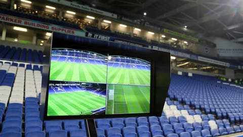 A view of the Video Assistant Referee (VAR) system pitchside, which will be used for the English FA Cup, Third Round soccer match at the AMEX Stadium in Brighton, England between Brighton & Hove Albion and Crystal Palace, Monday Jan. 8, 2018. (Gareth Fuller, PA via AP)