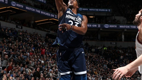 MINNEAPOLIS, MN - JANUARY 8: Jimmy Butler #23 of the Minnesota Timberwolves shoots the ball against the Cleveland Cavaliers on January 8, 2018 at Target Center in Minneapolis, Minnesota. NOTE TO USER: User expressly acknowledges and agrees that, by downloading and or using this Photograph, user is consenting to the terms and conditions of the Getty Images License Agreement. Mandatory Copyright Notice: Copyright 2018 NBAE (Photo by Jordan Johnson/NBAE via Getty Images)