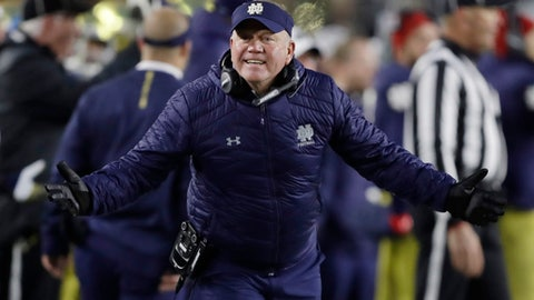 FILE - In this Saturday, Oct. 28, 2017, file photo, Notre Dame head coach Brian Kelly argues a call during the second half of an NCAA college football game against North Carolina State in South Bend, Ind. Kelly can deal with Saturday afternoon's reunion of defensive assistants Mike Elko and Clark Lea with their former Wake Forest boss Dave Clawson. Whether Kelly's No. 5 Irish can deal on the field with the explosive 5-3 Blue Demons, fresh off a 42-32 victory against Louisville, is another matter. (AP Photo/Darron Cummings, File)