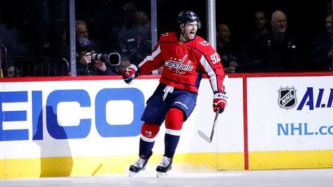 Washington Capitals center Evgeny Kuznetsov celebrates his goal during the second period of an NHL hockey game against the Vancouver Canucks, Tuesday, Jan. 9, 2018, in Washington. (AP Photo/Alex Brandon)