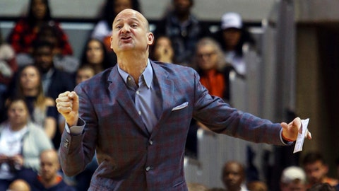 Mississippi head coach Andy Kennedy reacts to a call during the first half of an NCAA college basketball game against Auburn, Tuesday, Jan. 9, 2018, in Auburn, Ala. (AP Photo/Butch Dill)