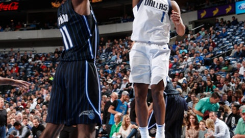 DALLAS, TX - JANUARY 9:   Dennis Smith Jr. #1 of the Dallas Mavericks shoots the ball against the Orlando Magic on January 9, 2018 at the American Airlines Center in Dallas, Texas. NOTE TO USER: User expressly acknowledges and agrees that, by downloading and or using this photograph, User is consenting to the terms and conditions of the Getty Images License Agreement. Mandatory Copyright Notice: Copyright 2018 NBAE (Photo by Danny Bollinger/NBAE via Getty Images)