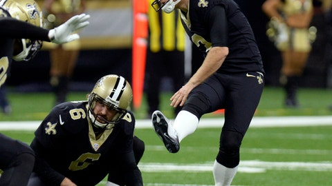 "FILE - In this Jan. 7, 2018, file photo, New Orleans Saints kicker Wil Lutz (3) kicks a field goal from the hold of punter Thomas Morstead (6) in the second half of an NFL football game against the Carolina Panthers, in New Orleans. Minnesota kicker Kai Forbath was cut by New Orleans right before the 2016 season because Saints head coach Sean Payton had ""a gut feeling"" they'd be better off with rookie Will Lutz. Now Forbath has the job with Vikings, who host the Saints in a divisional round playoff game on Sunday. (AP Photo/Bill Feig, File)"