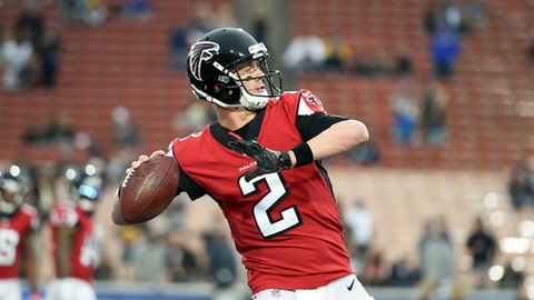 FILE - In this Jan. 6, 2018, file photo, Atlanta Falcons quarterback Matt Ryan warms up before an NFL football wild-card playoff game against the Los Angeles Rams, in Los Angeles. After missing practice on Tuesday, Jan. 9, 2018, for undisclosed personal reasons, Falcons quarterback Matt Ryan is expected back on Wednesday. It's an important practice day as Atlanta prepares for Saturday's divisional round playoff game at Philadelphia. (AP Photo/Kelvin Kuo, File)