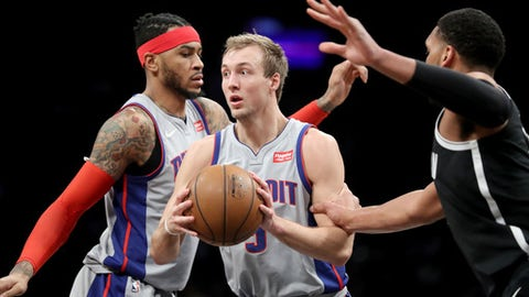 NEW YORK, NY - JANUARY 10: Luke Kennard #5 of the Detroit Pistons looks to pass the ball in the fourth quarter against the Brooklyn Nets during their game at Barclays Center on January 10, 2018 in the Brooklyn borough of New York City. NOTE TO USER: User expressly acknowledges and agrees that, by downloading and or using this photograph, User is consenting to the terms and conditions of the Getty Images License Agreement.  (Photo by Abbie Parr/Getty Images)