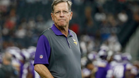 FILE - In this Aug. 29, 2015, file photo, then-Minnesota Vikings offensive coordinator Norv Turner watches the team warm up before a preseason NFL football game against the Dallas Cowboys, in Arlington, Texas. A person familiar with the situation says the Carolina Panthers are interviewing Norv Turner for their vacant offensive coordinator position. The person spoke to The Associated Press Thursday, Jan. 11, 2018, on condition of anonymity because the team does not discuss potential coaching candidates. The Panthers fired offensive coordinator Mike Shula and quarterbacks coach Ken Dorsey Tuesday, two days after a playoff loss to the Saints. (AP Photo/Tony Gutierrez, File)
